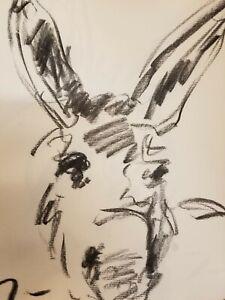 "JOSE TRUJILLO - Original Charcoal Paper Sketch Drawing 12"" Modern Little Donkey"
