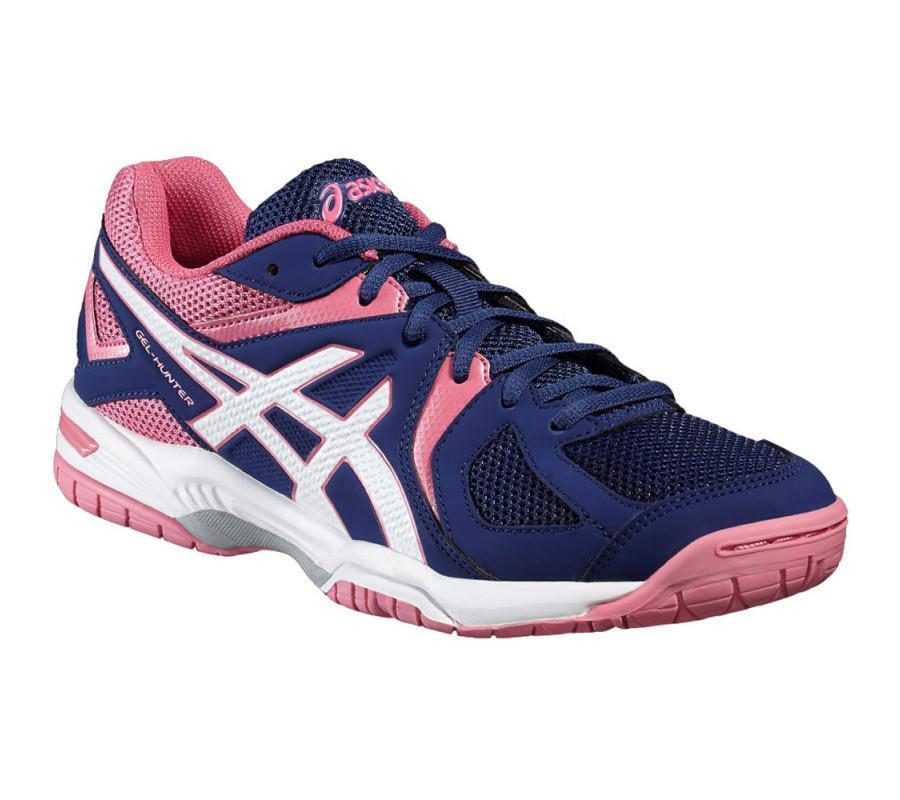 Zapatos promocionales para hombres y mujeres Asics Gel Hunter Women`s Indoor Shoes Blue White & Azalea Pink