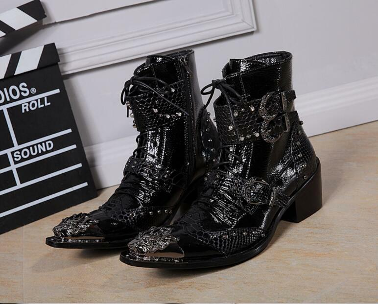 Fashion Men's Pointed Metal Toe Buckles Lace UP Zip High Top Ankle Knight Boots