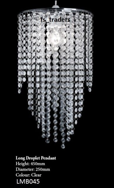 Long Clear 3 Tier Crystal Effect Pendant Chandelier Light Shade ...