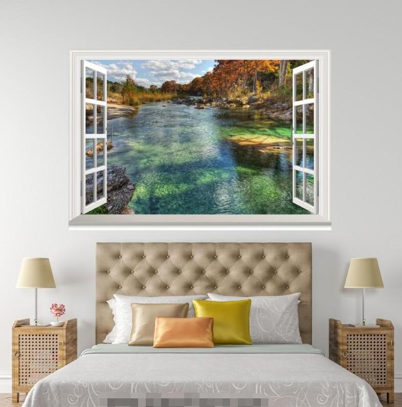 3D Clear River Sky 1038 Open Windows WallPaper Murals Wall Print AJ Carly