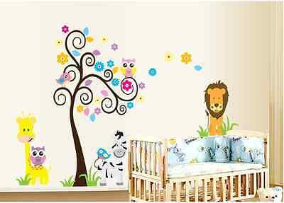 Large Colourful Tree Flower Stars Animals Owls Nursery Room Wall Stickers
