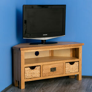 size 40 d2d81 07659 Details about Surrey Oak Corner TV Unit with Storage Baskets / Waxed Wooden  TV Stand / NEW