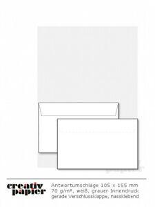 Antwortumschläge für DIN C6 und DIN lang weiß 70 g/m² ISK nassklebend 1000 Stück