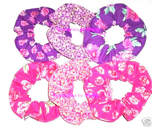 Floral Hair Scrunchie Pink Purple Roses Tie Ponytail Holder Scrunchies by Sherry