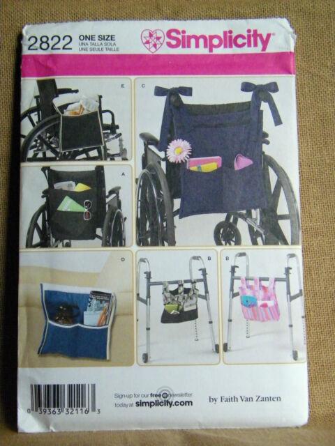 2822 Simplicity Accessories Wheelchair Walker Lounge Chair Bag Pattern