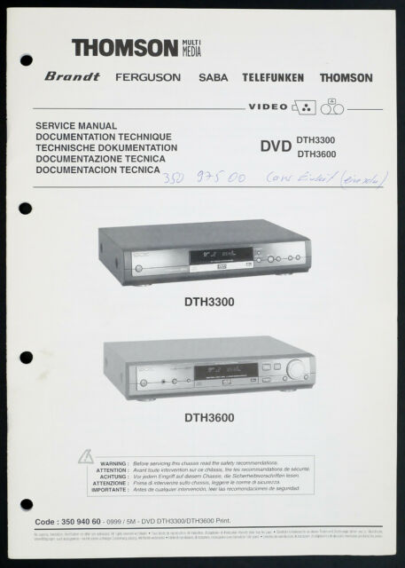 Thomson Dth3300 Dth3600 Original Dvd Player Service Manual