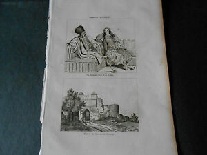 1836 ANCIENT STEEL ENGRAVING CASTLE OF NAVARINO PYLOS AND ARCHON GREECE HELLAS