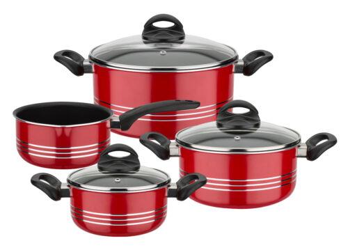 Casseroles Milano color 4 pièces rouge anti-adhérent induction couvercle en verre marmite gsw158602
