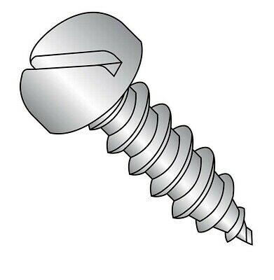 3//4 Length Pack of 100 Slotted Drive Type A Pan Head Plain Finish 18-8 Stainless Steel Sheet Metal Screw #6-18 Thread Size