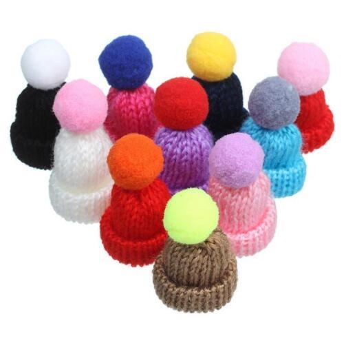 10X Christmas Knitting mini hat Hairball pendant DIY jewelry making accessories