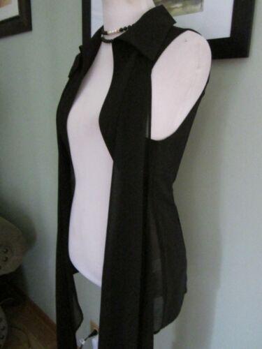 Top Taglia Vest Neiman con Z Open M Black I Marcus Front A Crêpe Collar Sheer w8qAOqZU