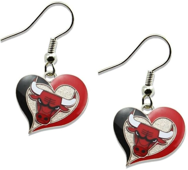 Chicago Bulls Swirl Heart Logo Dangle Earrings Brand New Nba Er