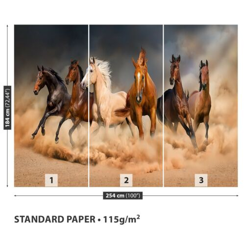 Papier-Fototapete Fototapeten Tapete aus Papier Poster Foto Galoppierende Pferde