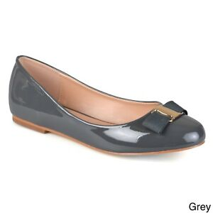 bac149359 Journee Collection Women's 'Kim' Patent Round Toe Flats Grey Size 10 ...
