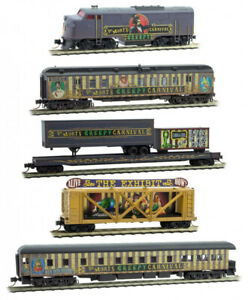 Micro-Trains-MTL-N-Scale-Halloween-Dr-Mort-039-s-Creepy-Carnival-Complete-Train-Set