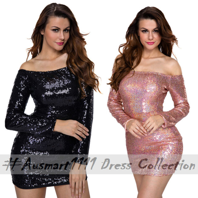 Glitter Sequin Long Sleeve Off Shoulder Sexy Mini Clubwear Curve Bodycon Dress