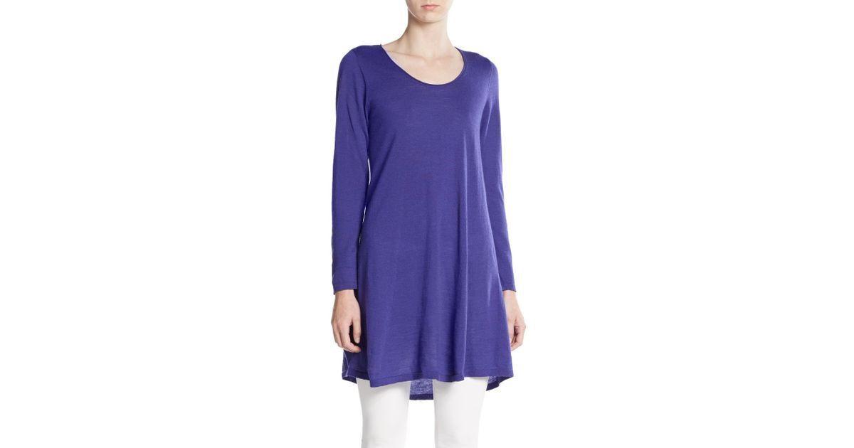 Mini Vestido  238 Eileen Fisher  Túnica a-Line De Punto Púrpura De Lana Merino XS M nuevo con etiquetas  envio rapido a ti
