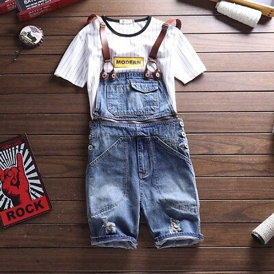 Men Summer Denim Ripped Hole Overall Shorts Jeans Cowboy Casual Jumpsuits Romper