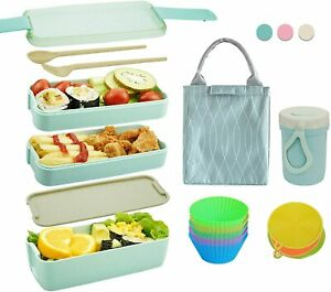 Bento Box Japanese Lunch Box Kit (11 PCS) 3-In-1 Compartment, Leak-proof (Green)