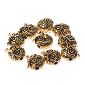 Charm-Handmade-DIY-Making-Owl-Head-Alloy-Beads-Animal-Charm-Bracelets-10-PCS