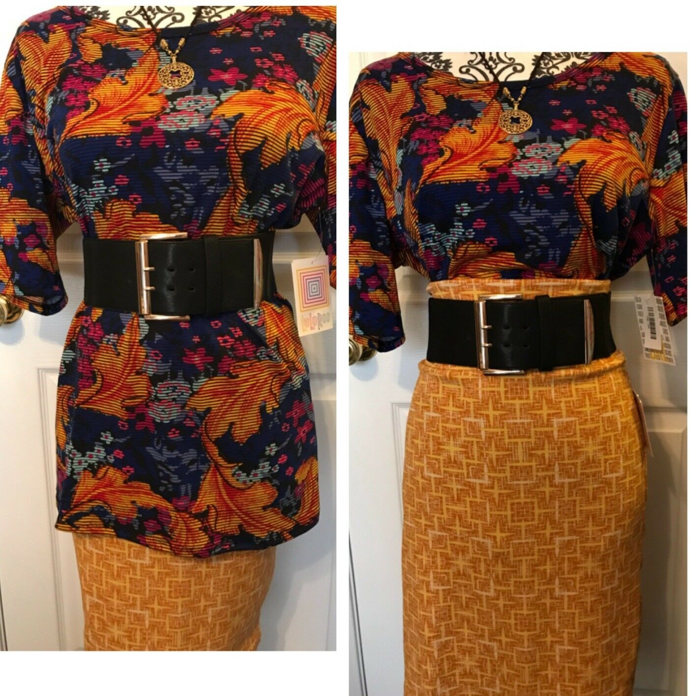 LulaRoe OUTFIT L gold Mustard Cassie 3XL Purple gold GiGi Feathers NWT Gorgeous
