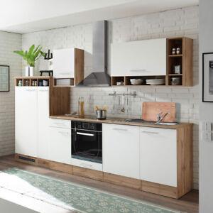 Küchenblock Madeira 310 Küche Küchenzeile Einbauküche Wildeiche weiß ...