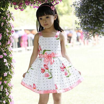 Cute Toddler Baby Girls Flower Cotton Dress Kids Summer Party Formal Dresses M69