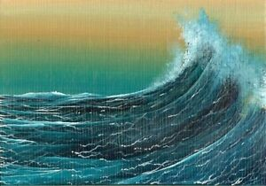 ACEO Original Acrylic Miniature Seascape Ocean Waves Sea Spray Painting HYMES