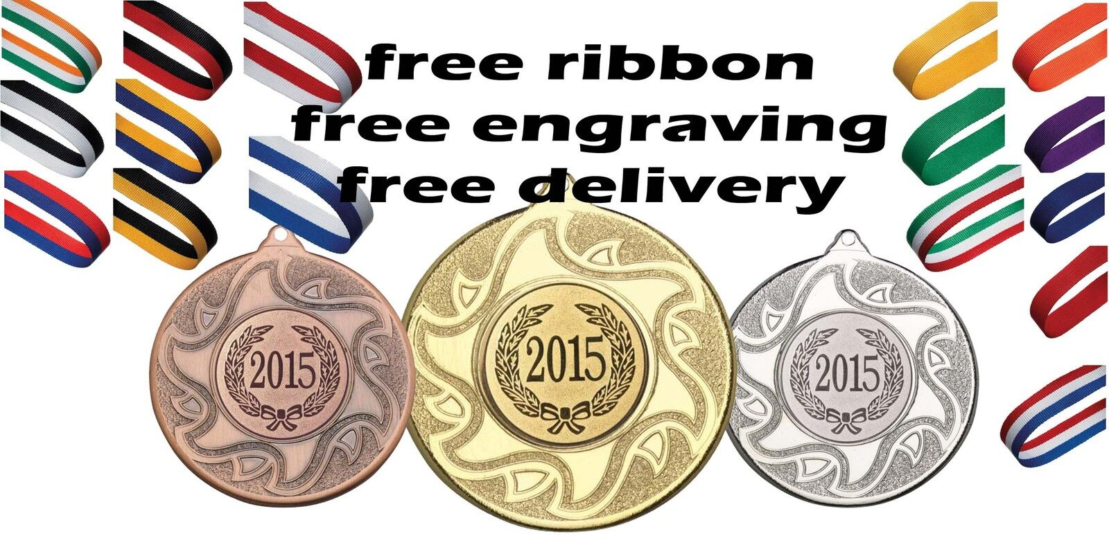 20x 50mm Metal Medal Free Engraving, Ribbon & Kids Climbing Party