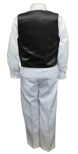 Black Satin Vest Only for Boy Baby Toddler Kid Teen Formal Wedding Party S-20