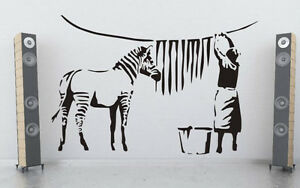 Humorous Feature Wall Decor Banksy Washed Zebra Stripes Durable Wall