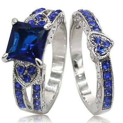 5-11 White Gold Fill Sapphire Wedding Engagement Ring Band Set Princess Cut Halo