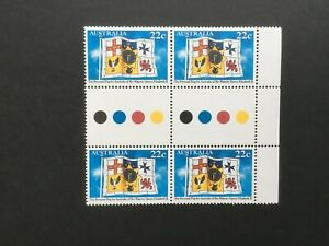 1981-Personal-flag-for-Australia-of-Queen-Elizabeth-II-MNH-gutter-Block-of-4