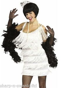 Ladies 1920s White Flapper Charleston Gatsby Fancy Dress