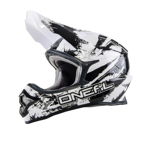 ONEAL 3 Series Shocker MX Casco Bianco Nero L SUPER MOTO CROSS ENDURO MOTO