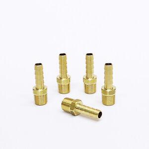 "5pc Brass Fittings 1/4"" Hose Barb  x 1/8"" NPT Male Straight MettleAir 125-4A"