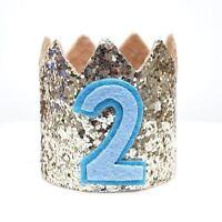 Gold Glitter Sparkles Blue 2nd Birthday Boy Hat Party Crown Toddler 2 Birthday
