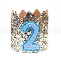 Gold Glitter Sparkles Blue 2nd Birthday Boy Hat Party Crown Toddler 2 Birthday
