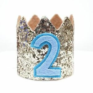 Image Is Loading Gold Glitter Sparkles Blue 2nd Birthday Boy Hat