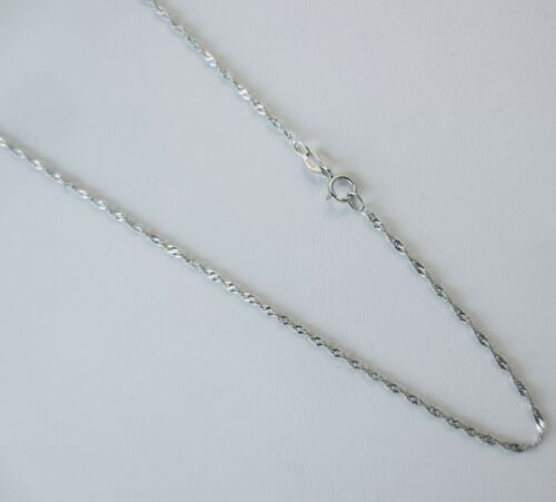 Silver 15,17,19,21,23 Inch Rhodium Finish Singapore Chain 1mm Italian .925 S
