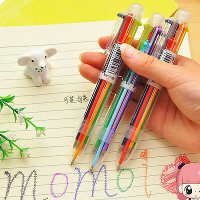 HOT Novelty 6 Color Ballpoint Pen Ballpen For Kids Child Student Office Supply