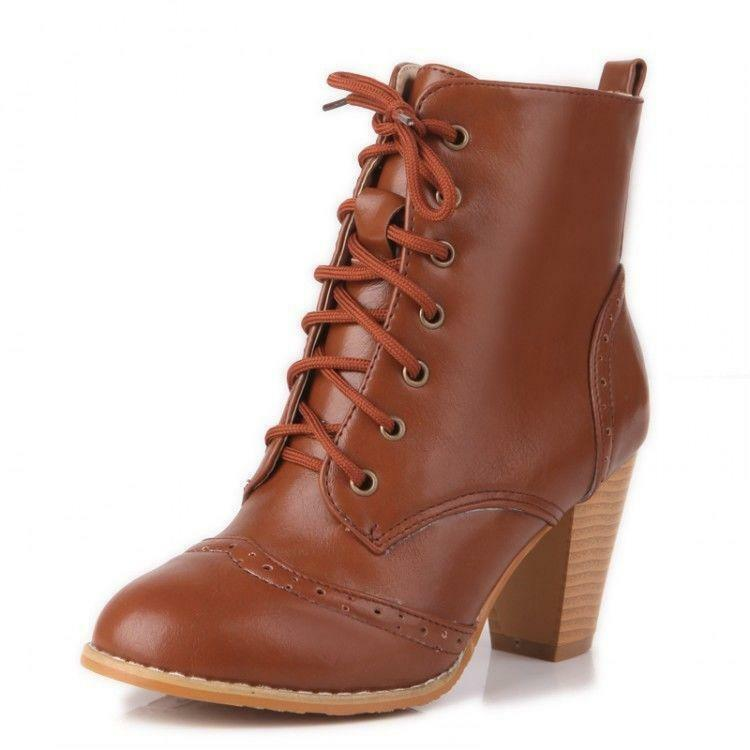 Womens chunky  Lolita Ankle Boots Pointed Toe Lace Up Block Heels Brogue shoes