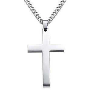 Herren-Silber-Kreuz-Anhaenger-Halskette-Edelstahl-Figaro-Kette-Halskette