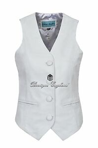 Ladies White Waistcoat Casual Fashion Festive Vest Soft Lambskin Leather 5701
