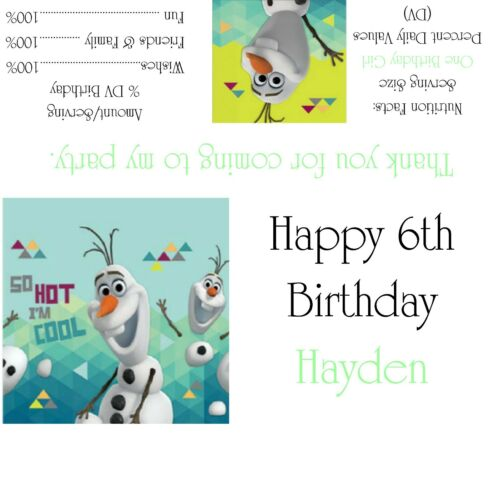 Disney/'s Frozen Olaf Candy Bar Wrappers//Birthday Party Favors Design #2