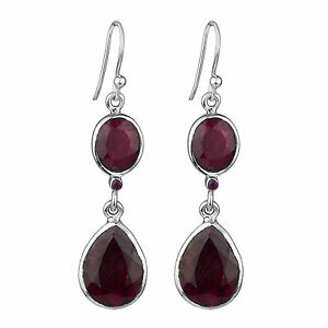 925-sterling-Silver-Ruby-Garnet-Dangle-earring-jewelry-CCI-8-97g