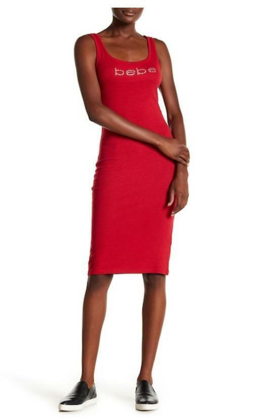 BEBE LOGO RED RIBBED KNIT TANK MIDI DRESS NEW NWT MEDIUM M