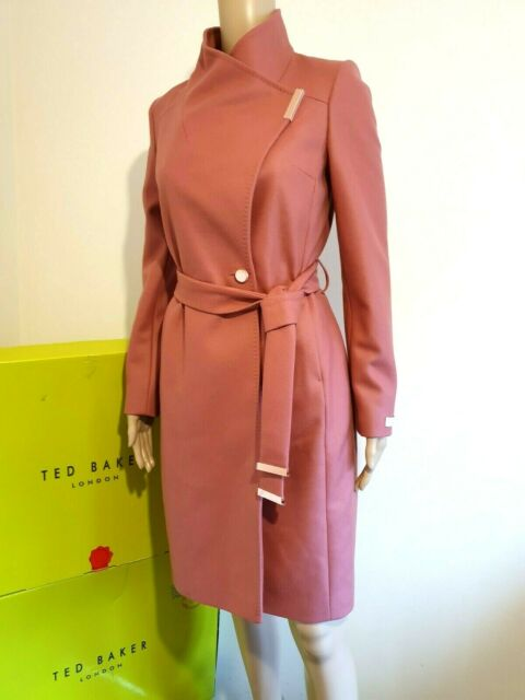 TED BAKER SANDRA CORAL PINK WOOL CASHMERE WRAP COAT UK 14 TED 4 USA 10 RRP £329