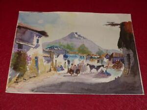 Peru-Bonita-Acuarela-Original-Firmada-Anos-1980-Arequipa-Volcan-Misti